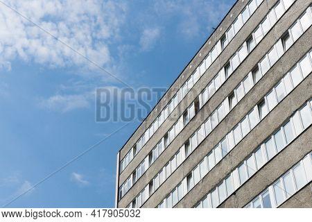 Plattenbau High Sky Scraper Building. Old Communist Architecture. Prefabricated Concrete Slabs Block