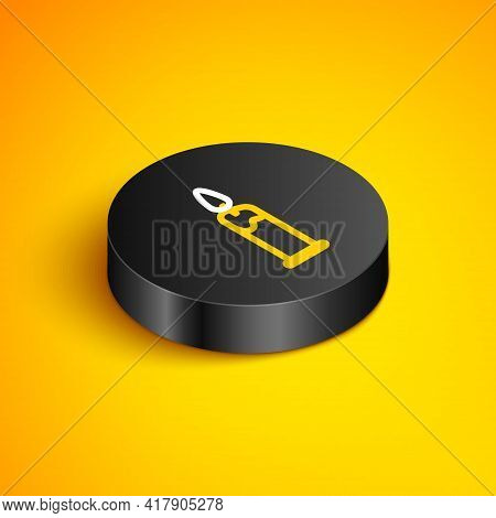 Isometric Line Burning Candle In Candlestick Icon Isolated On Yellow Background. Cylindrical Candle