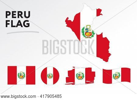 Various Designs Of The Peru Flag And Map. World Flags. Vector Set. Circle Icon. Brush Stroke. Templa