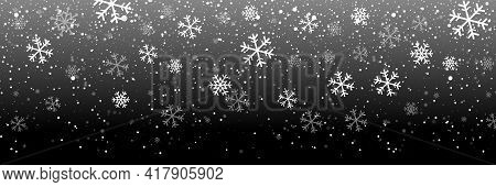 Falling Snow On A Black Background. Snow. Snowfall, Snowflakes In Different Shapes And Forms. Snowfa