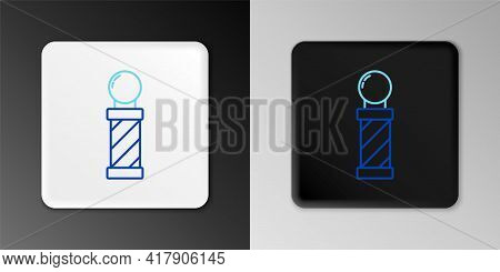 Line Classic Barber Shop Pole Icon Isolated On Grey Background. Barbershop Pole Symbol. Colorful Out
