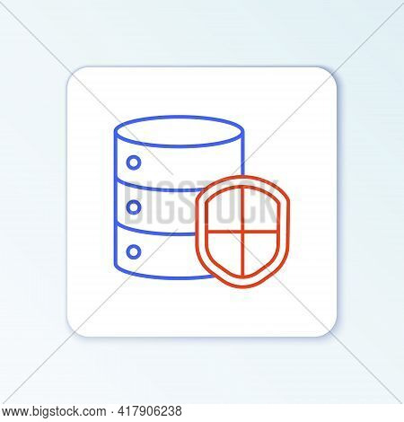 Line Server With Shield Icon Isolated On White Background. Protection Against Attacks. Network Firew
