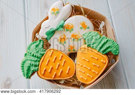 Sweets For Celebrate Easter. Gingerbread In Shape Of Easter Bunny And Carrot. Homemade Rabbit Ginger
