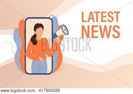 Latest News Woman With Megaphone. Vector Design Illustration. Breaking News Headline Template. Busin