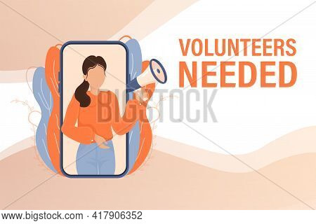 Template With Blue Volunteers Needed Man Holding Megaphone On White Background For Flyer Design. Vec