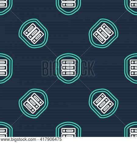 Line Server With Shield Icon Isolated Seamless Pattern On Black Background. Protection Against Attac