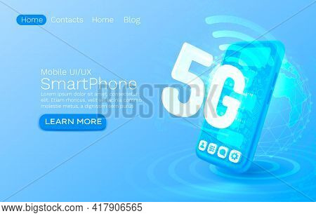 Screen Phone Neon Icon 5g Network Modern. Blue Background, Mobile Service. Vector