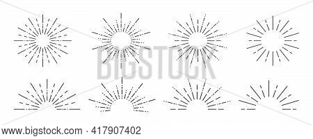 Sunburst Icon. Sunburst Set On A White Background. Collection Of Sun Ray Frames. Vector