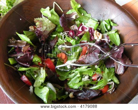 Tossed Salad  And Tongs