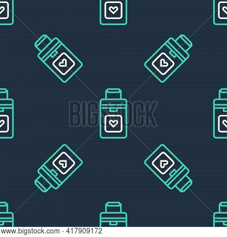 Line Cooler Box For Human Organs Transportation Icon Isolated Seamless Pattern On Black Background.