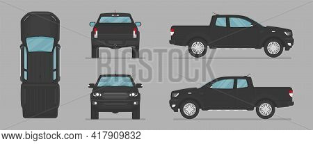 Vector Pickup Truck. Side View, Front View, Back View, Top View. Cartoon Flat Illustration, Car For