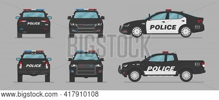American Police Car. Side View, Front View, Back View. Cartoon Flat Illustration, Auto For Graphic A