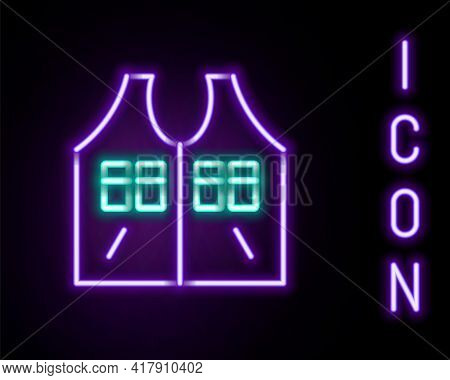 Glowing Neon Line Hunting Jacket Icon Isolated On Black Background. Hunting Vest. Colorful Outline C