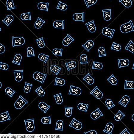 Line Balaclava Icon Isolated Seamless Pattern On Black Background. A Piece Of Clothing For Winter Sp