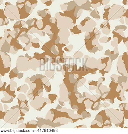 Abstract Vector Military Camouflage Background. Seamless Camo Pattern For Army Clothing. Beige, Brow