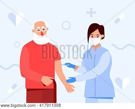 Vaccination Of The Elderly. Nurse With A Syringe Vaccinates Grandpa. An Injection Of An Antiviral Va