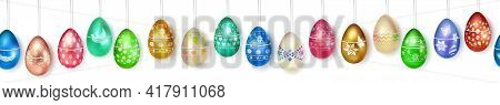 Banner Made Of Realistic Hanging Easter Eggs In Various Colors With Holiday Symbols, Glares And Shad