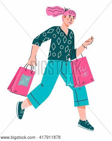 Cheerful Young Woman Rushing To The Sale. Pretty Woman Shopper With Shopping Bags, Cartoon Vector Il