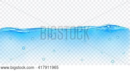 Translucent Water In Light Blue Colors With Air Bubbles, Isolated On Transparent Background. Transpa