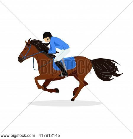 Horse With Rider. Jockey On Horse. Horse Riding. Woman On Horse. Equestrian Sport. Isolated Vector I