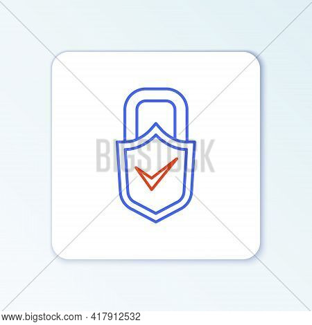 Line Open Padlock And Check Mark Icon Isolated On White Background. Cyber Security Concept. Digital