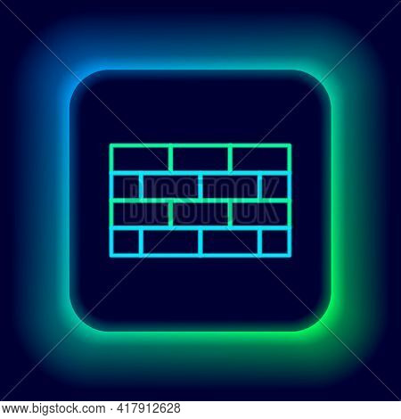 Glowing Neon Line Firewall, Security Wall Icon Isolated On Black Background. Colorful Outline Concep
