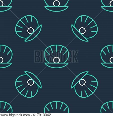 Line Natural Open Shell With Pearl Icon Isolated Seamless Pattern On Black Background. Scallop Sea S