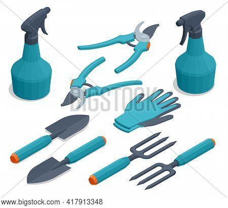 Isometric Set Of Garden Tools. Rake, Pruner, Sprayer, Shovel, Mittens, Pitchfork, Cutter, Isolated O
