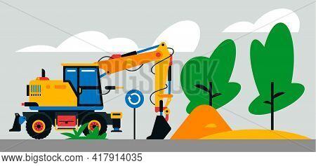 Construction Machinery Works At The Site. Construction Machinery, Excavator, Loader On The Backgroun