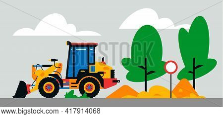 Construction Machinery Works At The Site. Construction Machinery, Tractor, Excavator, Loader On The