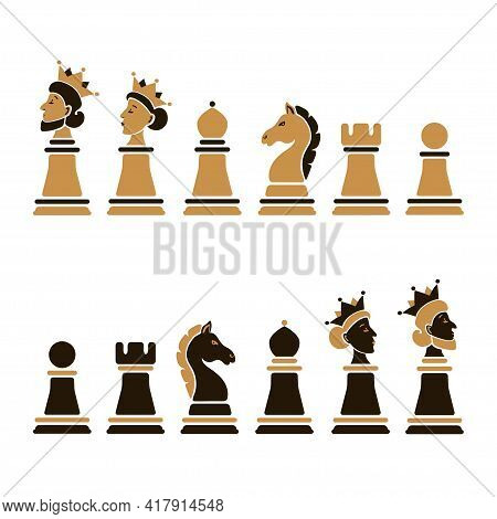 Vector Set Of Cartoon Chess Pieces: King, Queen, Bishop, Knight, Rook, Pawn Isolated On White Backgr