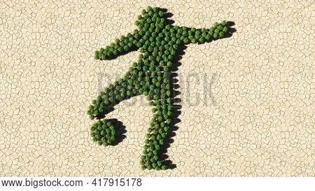 Concept or conceptual group of green forest tree on dry ground background,  sign of a football player. 3d illustration metaphor for sport, competition, training,  relaxation, family and fun