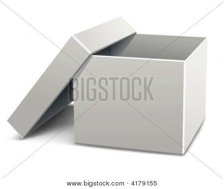 White Empty Opened Cardboard Box
