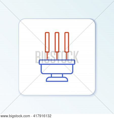 Line Burning Aromatic Incense Sticks Icon Isolated On White Background. Colorful Outline Concept. Ve