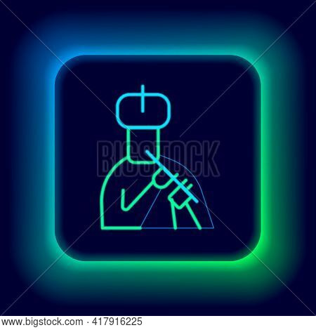Glowing Neon Line Indian Man Plays Flute Icon Isolated On Black Background. Artist Playing Bansuri F