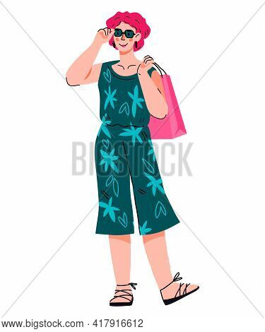 Smiling Fashionable Woman With Shopping Bags, Cartoon Vector Illustration Isolated On White. Satisfi