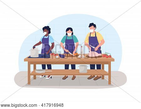 Cooking Class During Pandemic 2d Vector Web Banner, Poster
