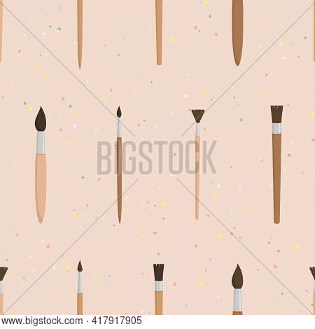 Vector Seamless Pattern With Brushes And Paint Splashes On Beige Background. For Decoration, Card, P