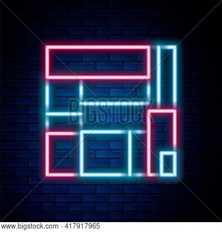 Glowing Neon Line House Edificio Mirador Icon Isolated On Brick Wall Background. Mirador Social Hous