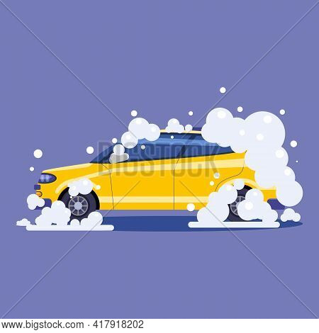 Car In Bubbles. Auto Service Washing, Clean Car. Vector Illustration Isolated