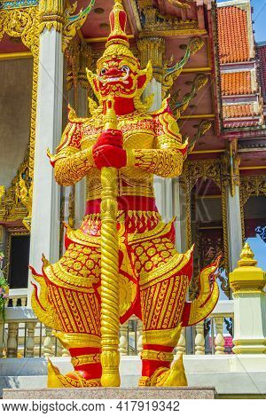 Temple Guardian Yaksha Wat Don Mueang Phra Arramluang Bangkok Thailand.