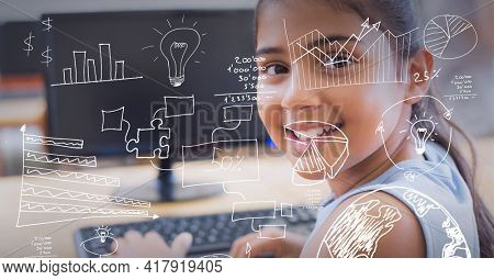 Composition of digital icons over portrait of girl using computer. global technology, education and digital interface concept digitally generated image.