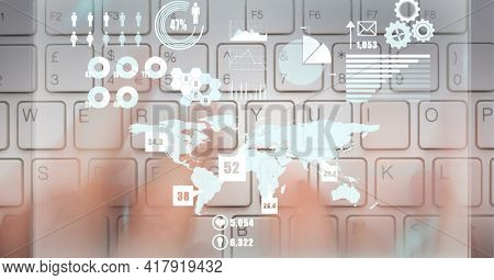 Composition of digital icons, data processing with world map over person typing on computer keyboard. global technology and digital interface concept digitally generated image.