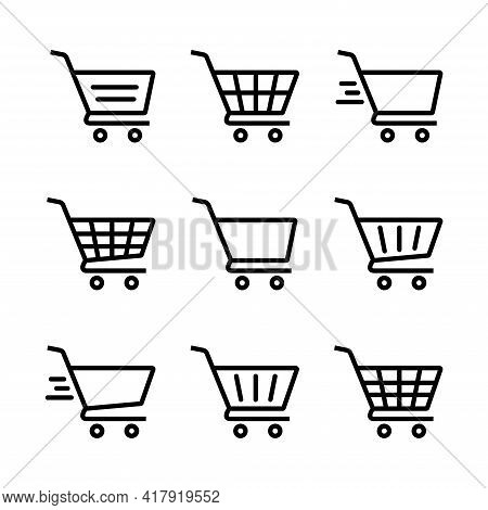 Shopping Cart Icon Set. Shopping Cart Illustration For Web, Mobile Apps. Shopping Cart Trolley Icon