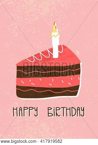 Happy Birthday Lettering And Slice Of Chocolate And Strawberry Cake Slice On Pink Textured Backgroun