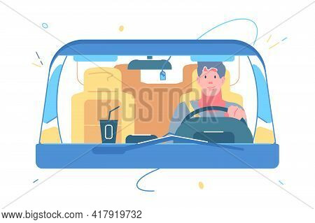 Man At Wheel In Car Vector Illustration. Guy Riding Automobile With Coffee On Dashboard Flat Style.