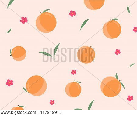 Seamless Pattern With Peaches, Leaves And Peach Flowers