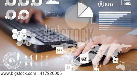 Composition of data processing and statistics recording over businesswoman using mouse computer. global technology and digital interface concept digitally generated image.