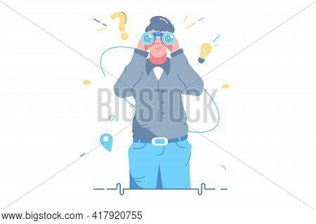 Man Looking In Binoculars Tool Vector Illustration. Look Into Future Choose Direction Flat Style. Se