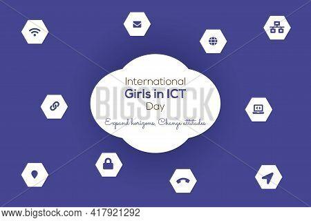 International Girls In Ict Day Vector Illustration Background.
